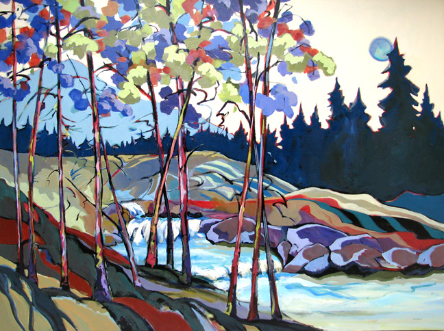 """Upper Silver Creek,"" contemporary landscape painting by Carolee Clark"