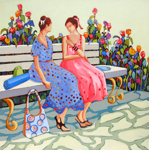 Confidences - acrylic painting by Carolee Clark