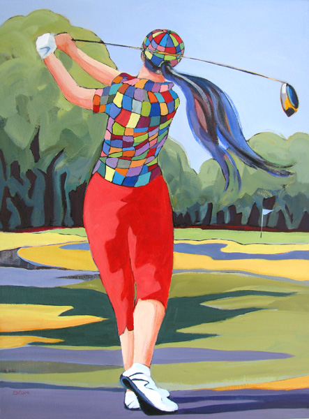 In Full Swing, female golfer painting by Carolee Clark