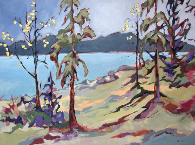 """At the Lake,"" landscape painting by Carolee Clark"