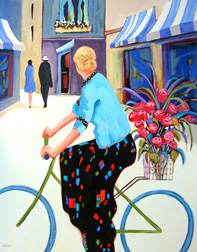 """Cycling Chic"" painting by Carolee Clark"