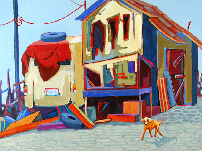 """Not Much of a Guard Dog,"" urban landscape painting by Carolee Clark"