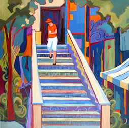 Coffee Shop Stairs, painting by Carolee Clark